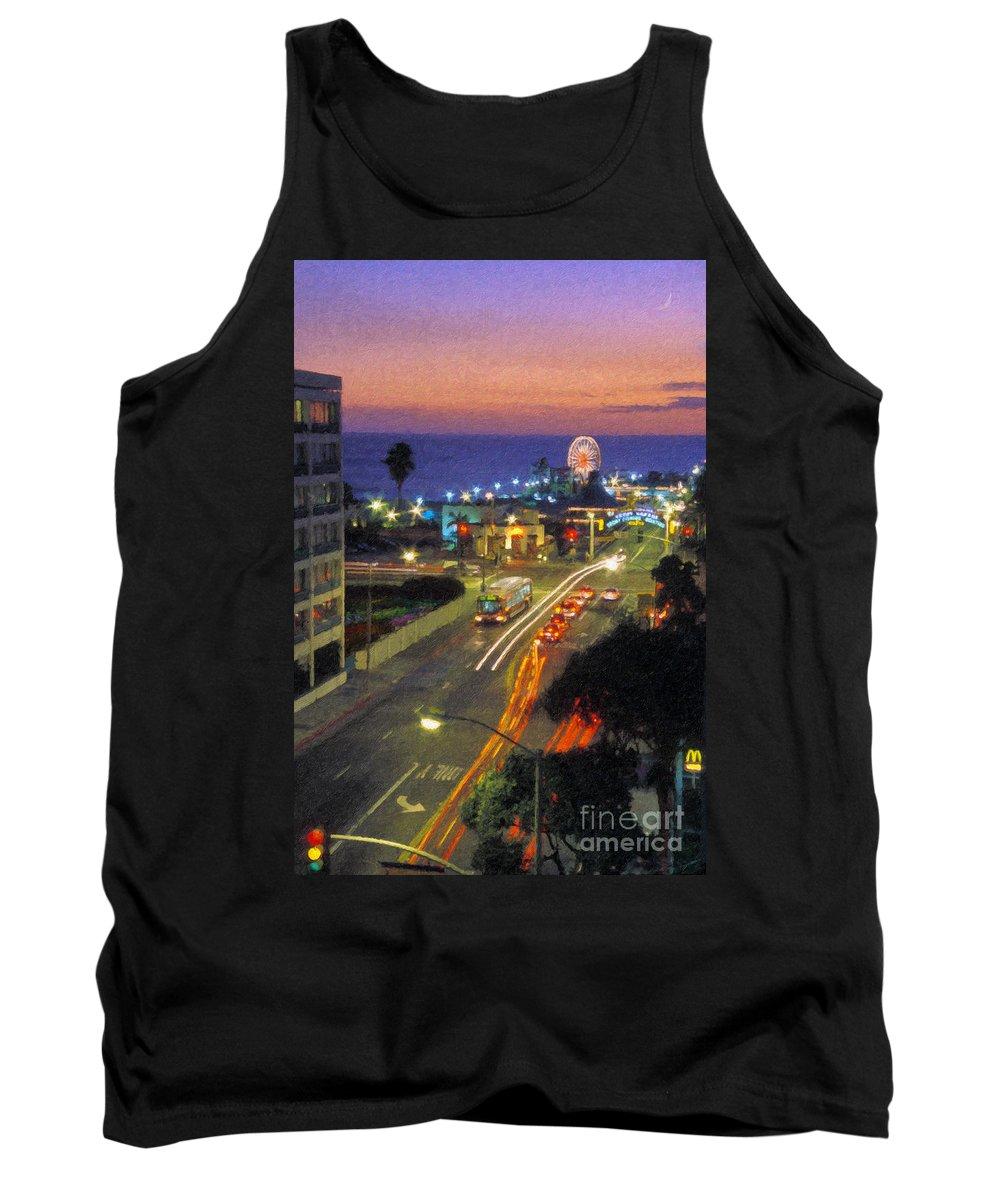 Santa Monica Ca Tank Top featuring the photograph Santa Monica Ca Pacific Park Pier Sunset by David Zanzinger