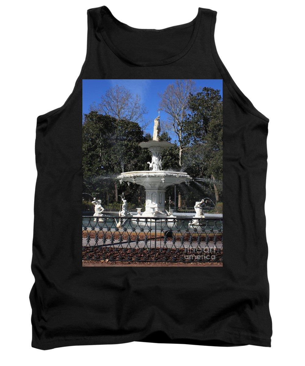 Savannah Tank Top featuring the photograph Savannah Square Fountain by Carol Groenen