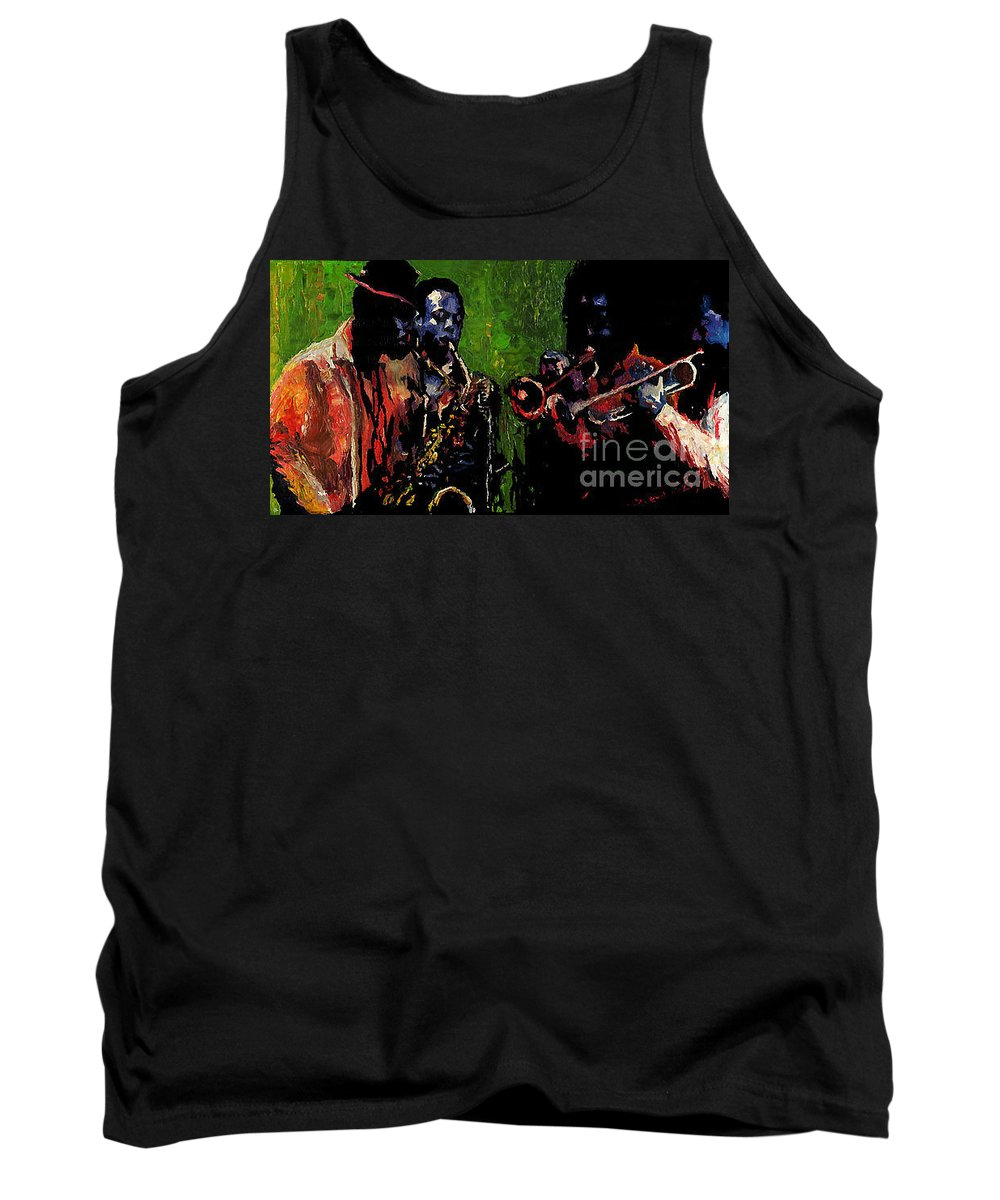 Jazz Tank Top featuring the painting Saxophon players. by Yuriy Shevchuk