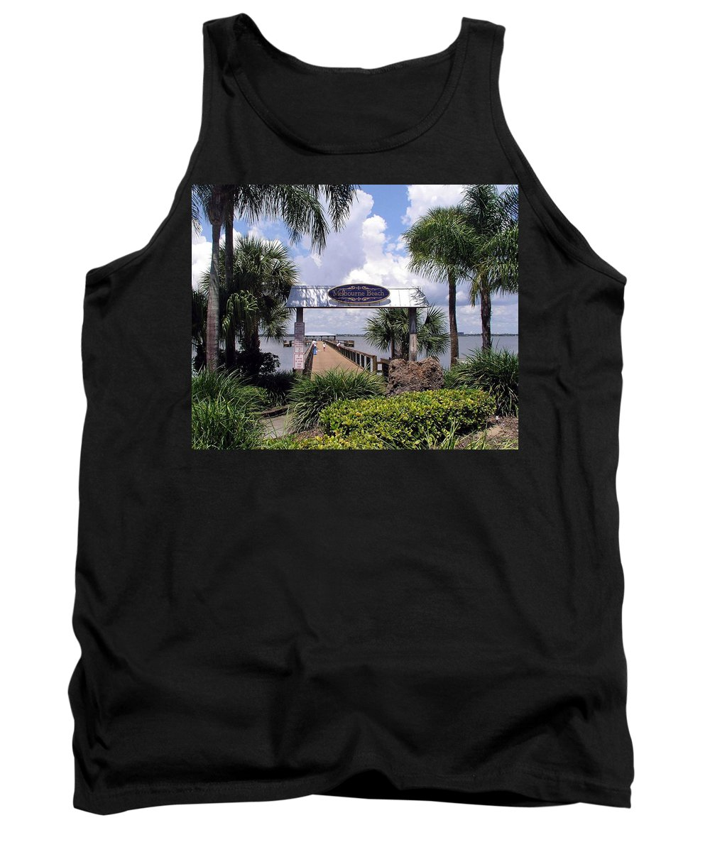 Melbourne Beach; Melbourne; Beach; Florida Usa; Brevard; Pier; Wharf; Scenic; River; Indian; Clouds; Tank Top featuring the photograph Scenic Melbourne Beach Pier Florida by Allan Hughes
