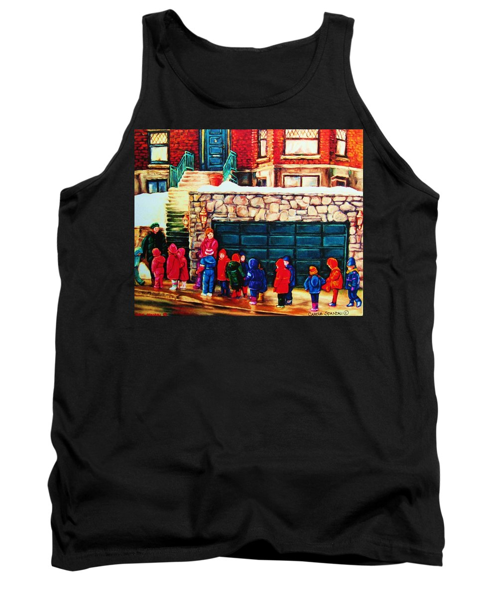 Montreal Streetscenes Tank Top featuring the painting Schools Out by Carole Spandau