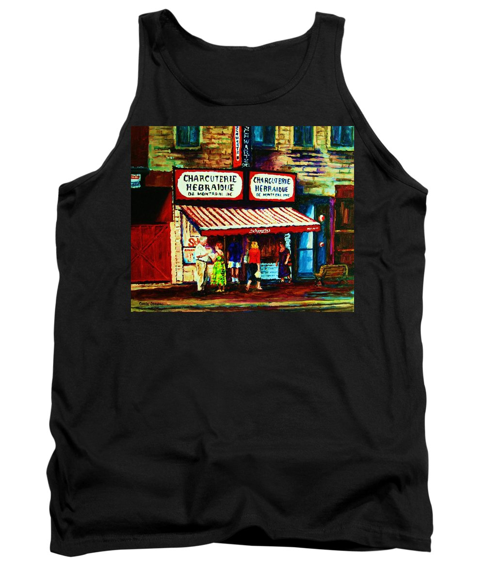 Schwartz Deli Tank Top featuring the painting Schwartzs Famous Smoked Meat by Carole Spandau