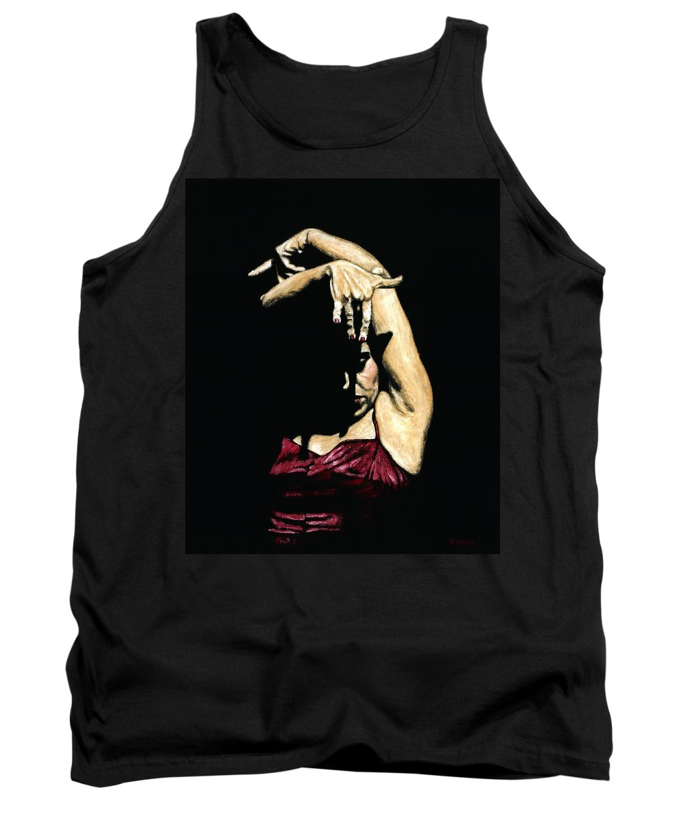 Flamenco Tank Top featuring the painting Seclusion Del Flamenco by Richard Young