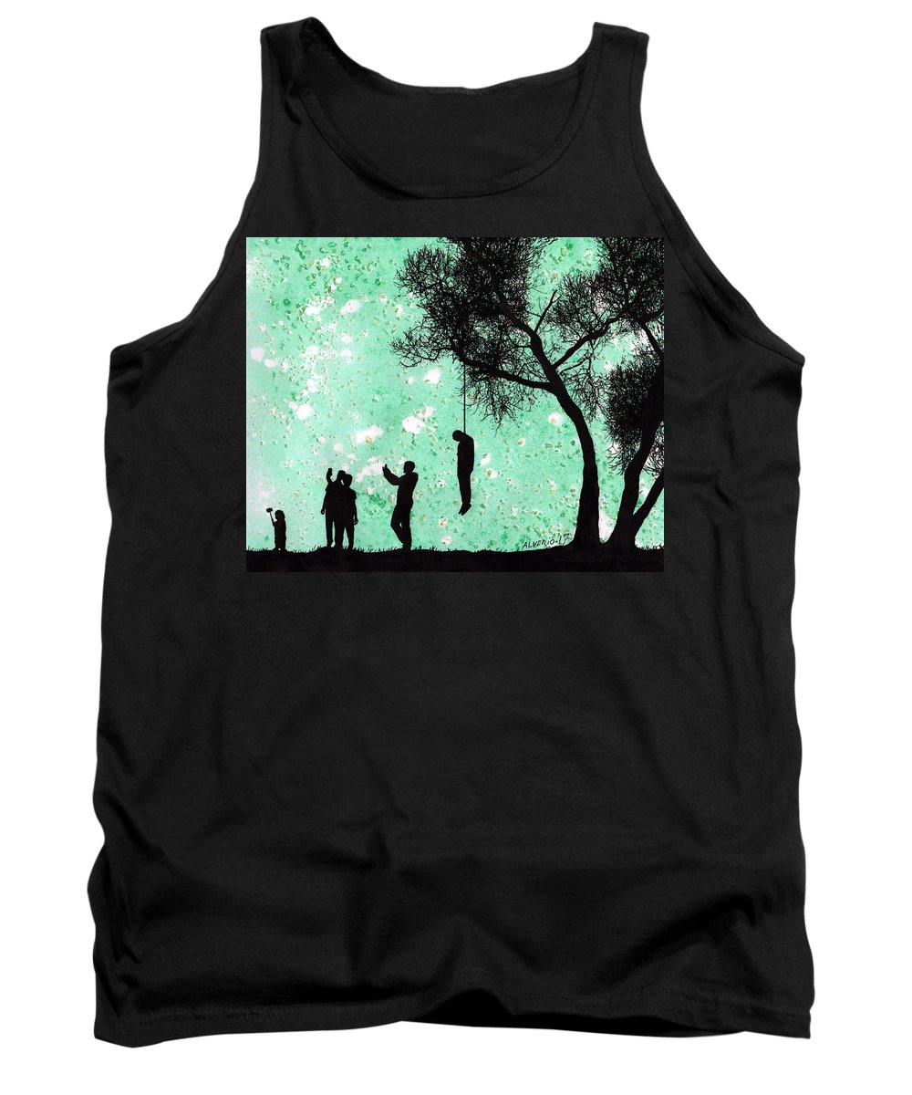 Hangman Tank Top featuring the painting Selfie by Edwin Alverio