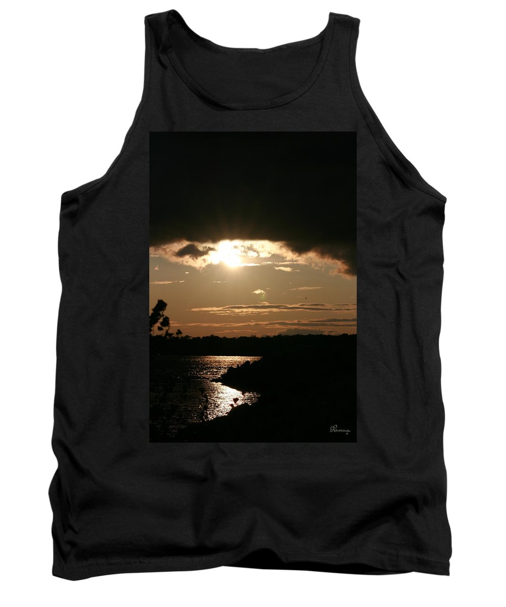 Sunset Lake Water Trees Rocks Shore Clouds Tank Top featuring the photograph Setting Sun by Andrea Lawrence