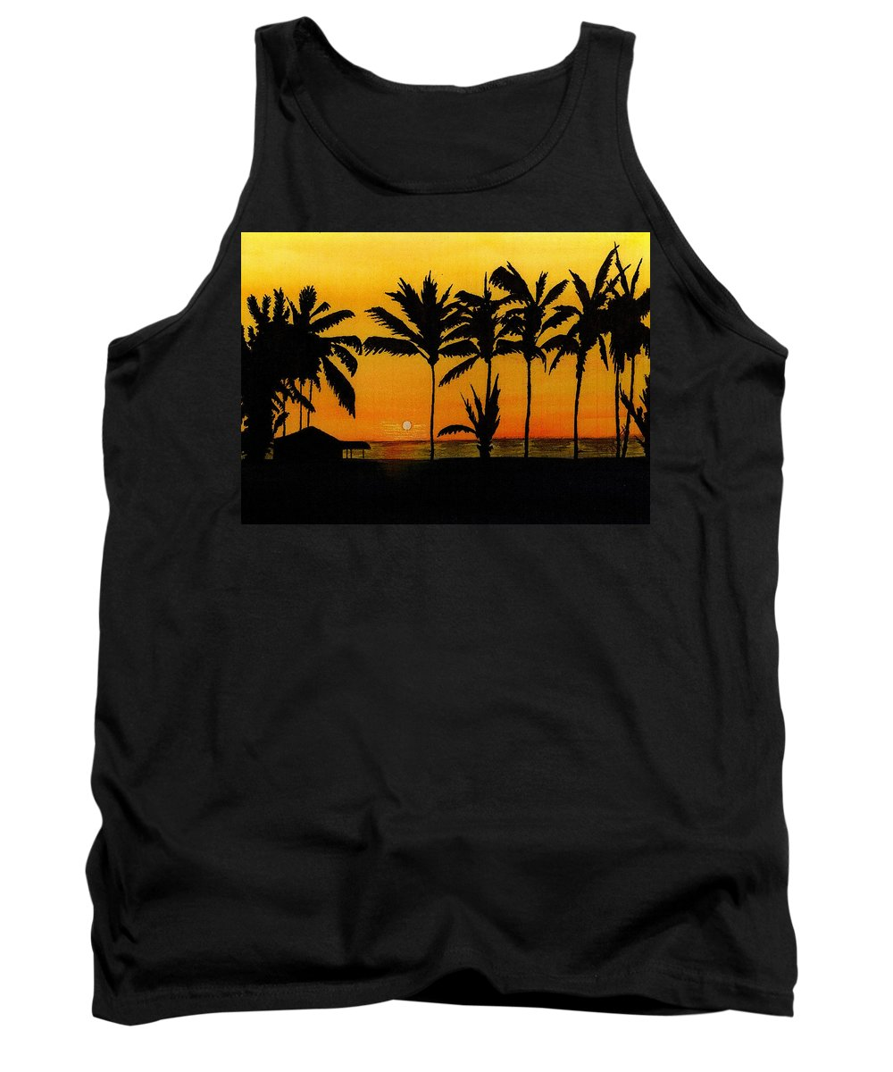Sun Tank Top featuring the painting Setting Sun In The Tropics by Michael Vigliotti