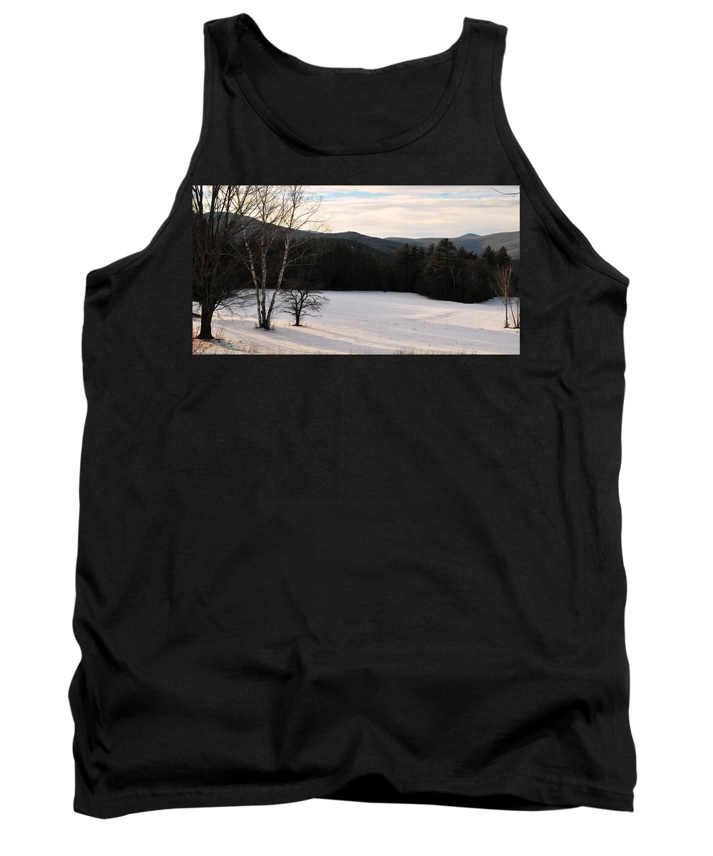 Back Roads Of New Hampshire January 28 Tank Top featuring the photograph Shadows On A Snow Covered Field by Bill Driscoll