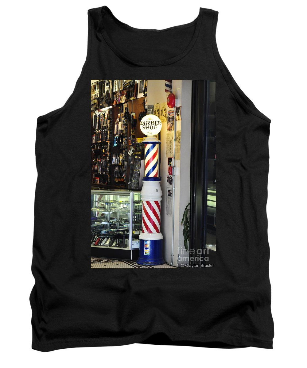 Clay Tank Top featuring the photograph Shave And A Haircut by Clayton Bruster