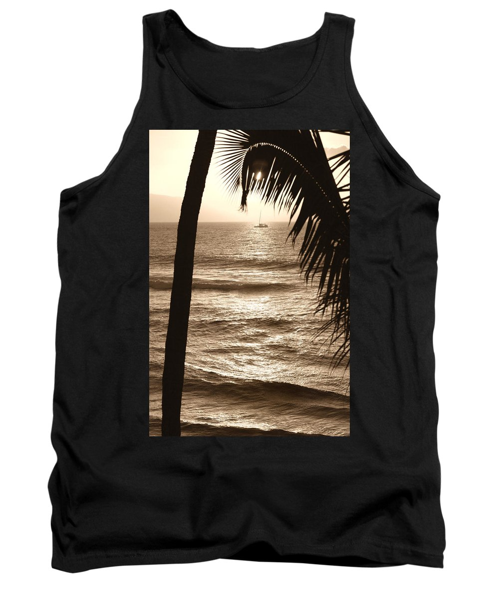 Hawaii Tank Top featuring the photograph Ship In Sunset by Marilyn Hunt