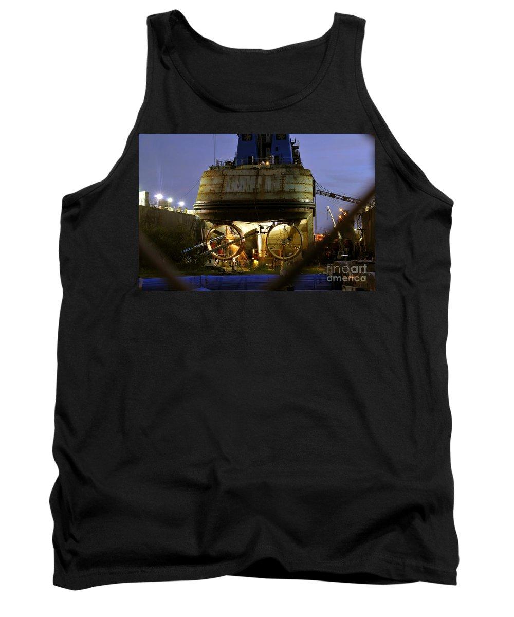Shipyard Tank Top featuring the photograph Shipyard Work by David Lee Thompson