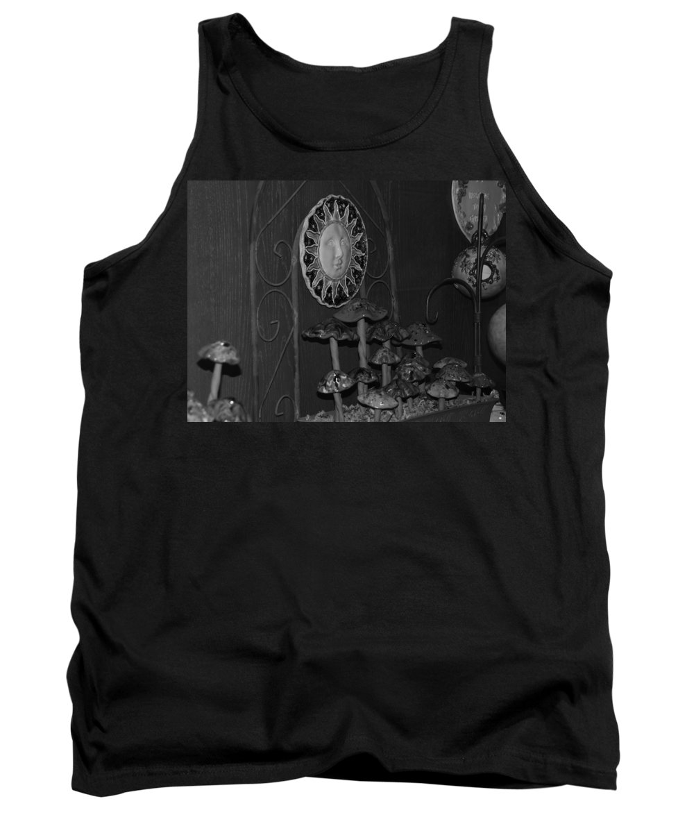 Black And White Tank Top featuring the photograph Shrooms And Sun by Rob Hans