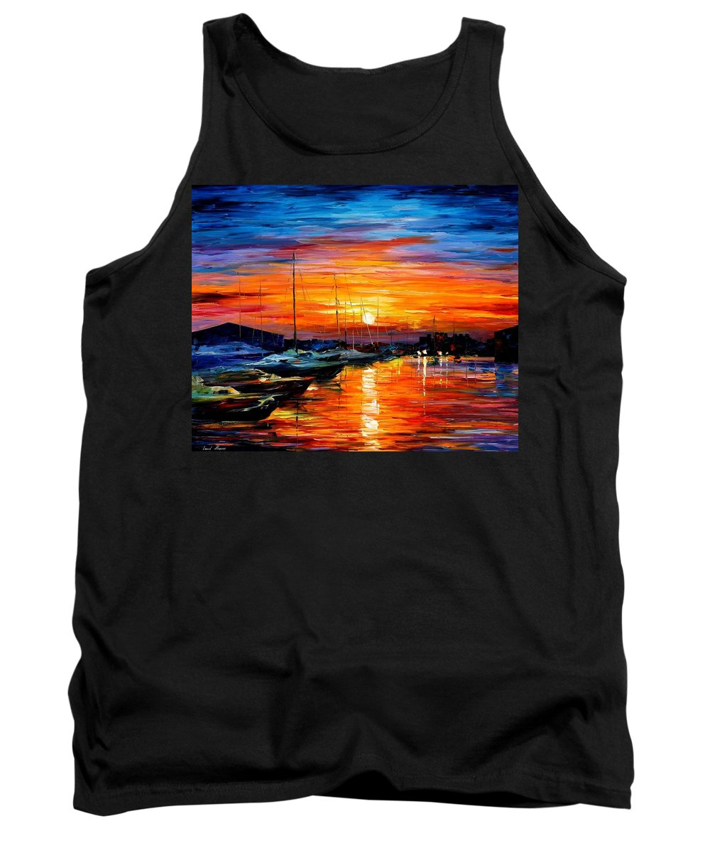 Afremov Tank Top featuring the painting Sicily - Harbor Of Syracuse by Leonid Afremov