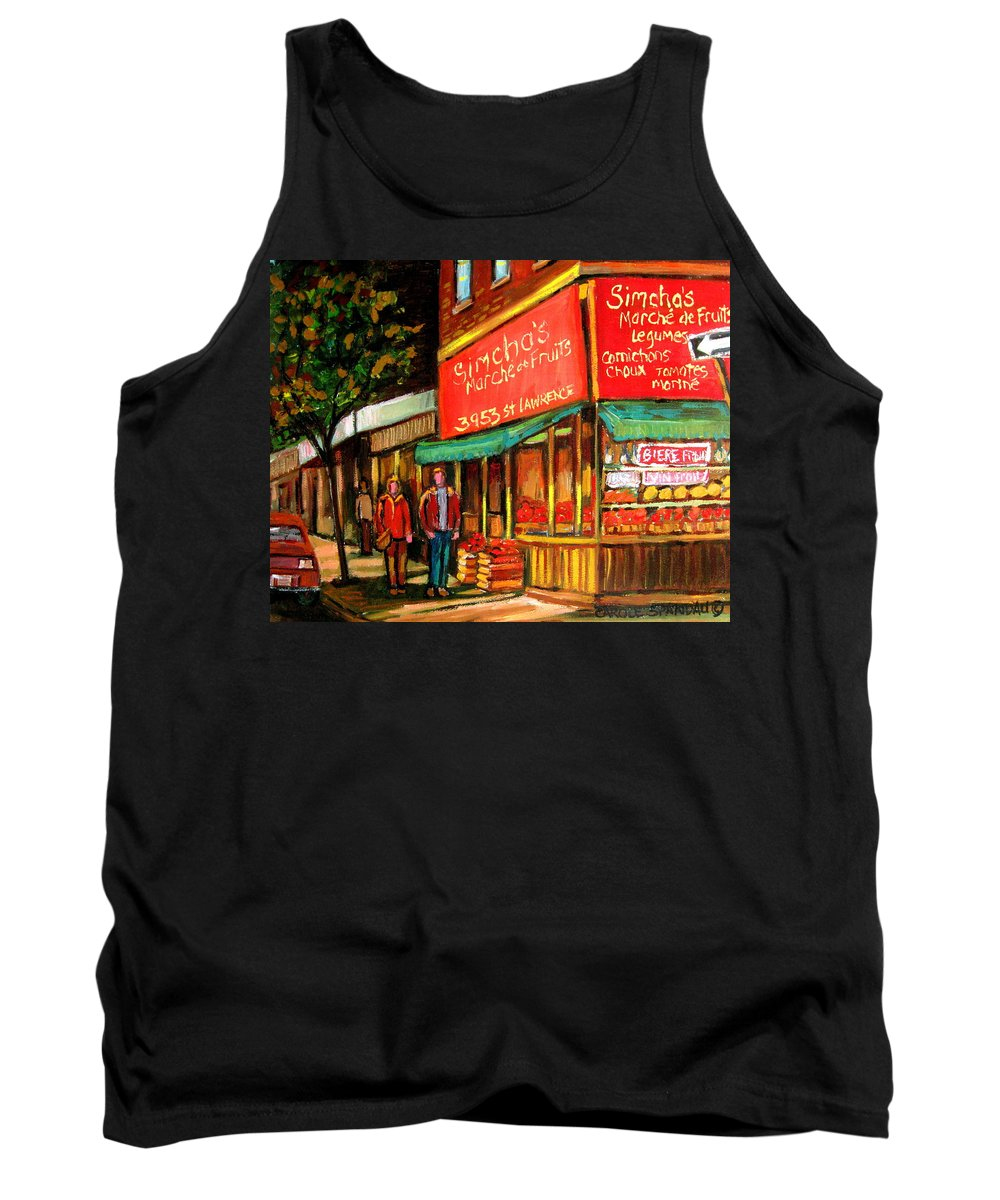 Simchas Fruit Store Tank Top featuring the painting Simchas Fruit Store by Carole Spandau