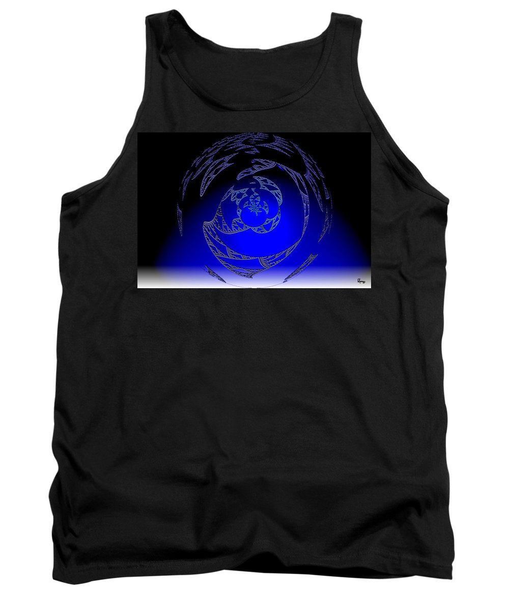 Blue Triangle Outter Space Abstract Worlds Galaxy Portal Tank Top featuring the digital art Simply Blue by Andrea Lawrence