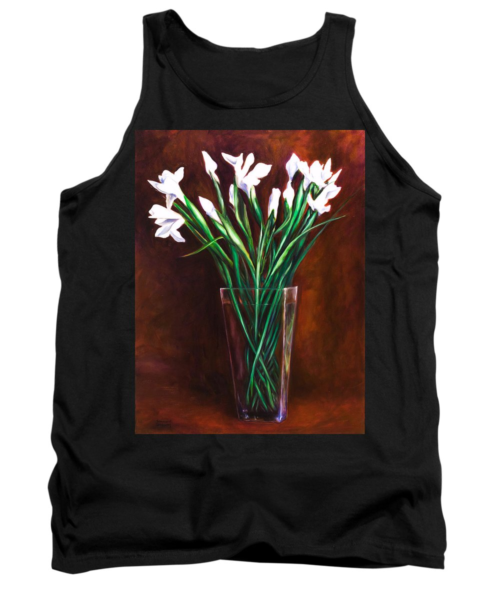 Iris Tank Top featuring the painting Simply Iris by Shannon Grissom