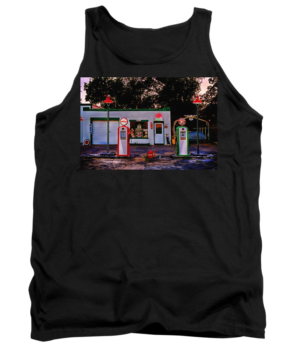 Gas Station Tank Top featuring the photograph Sinclair by Steve Karol