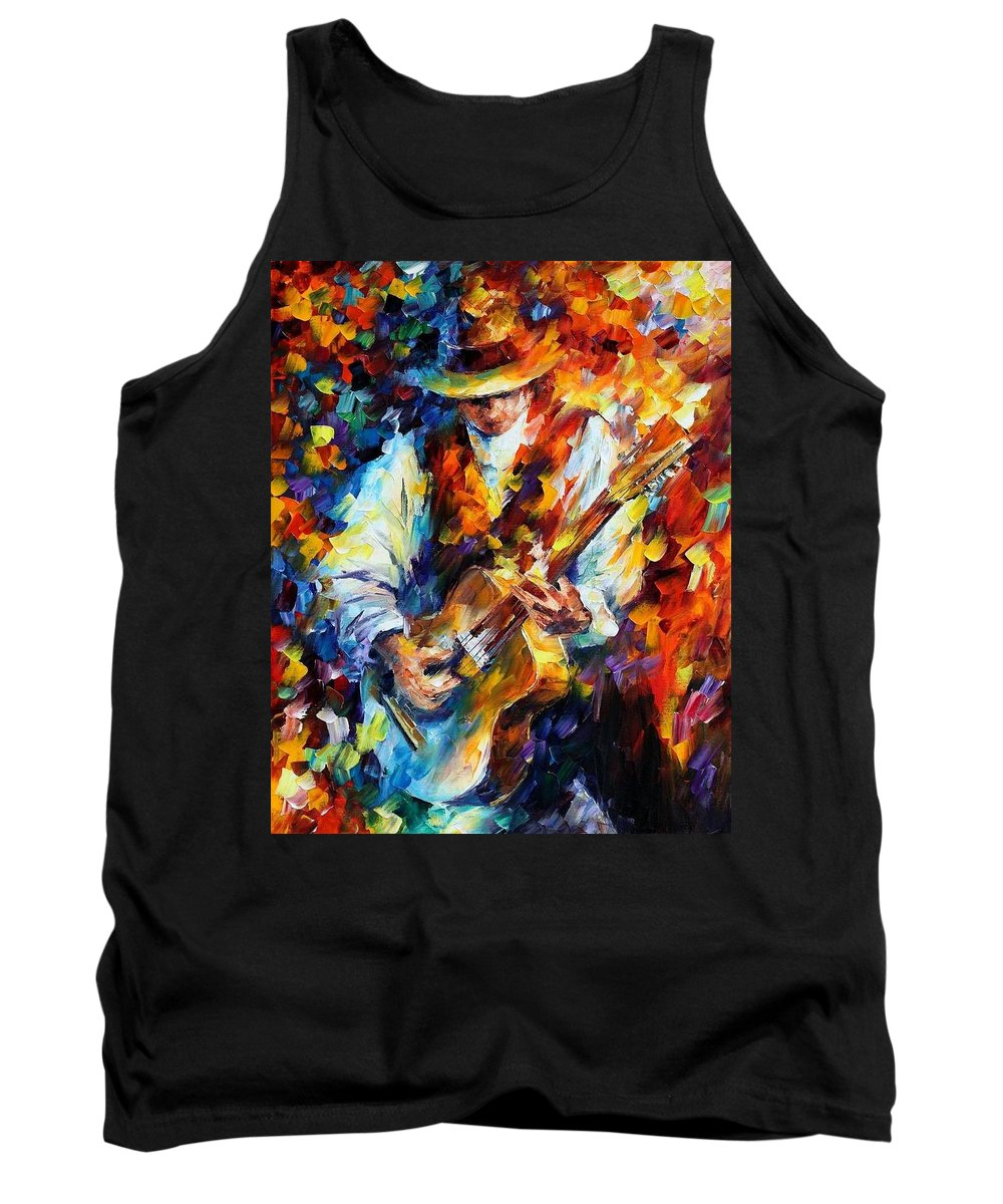 Afremov Tank Top featuring the painting Sing My Guitar by Leonid Afremov