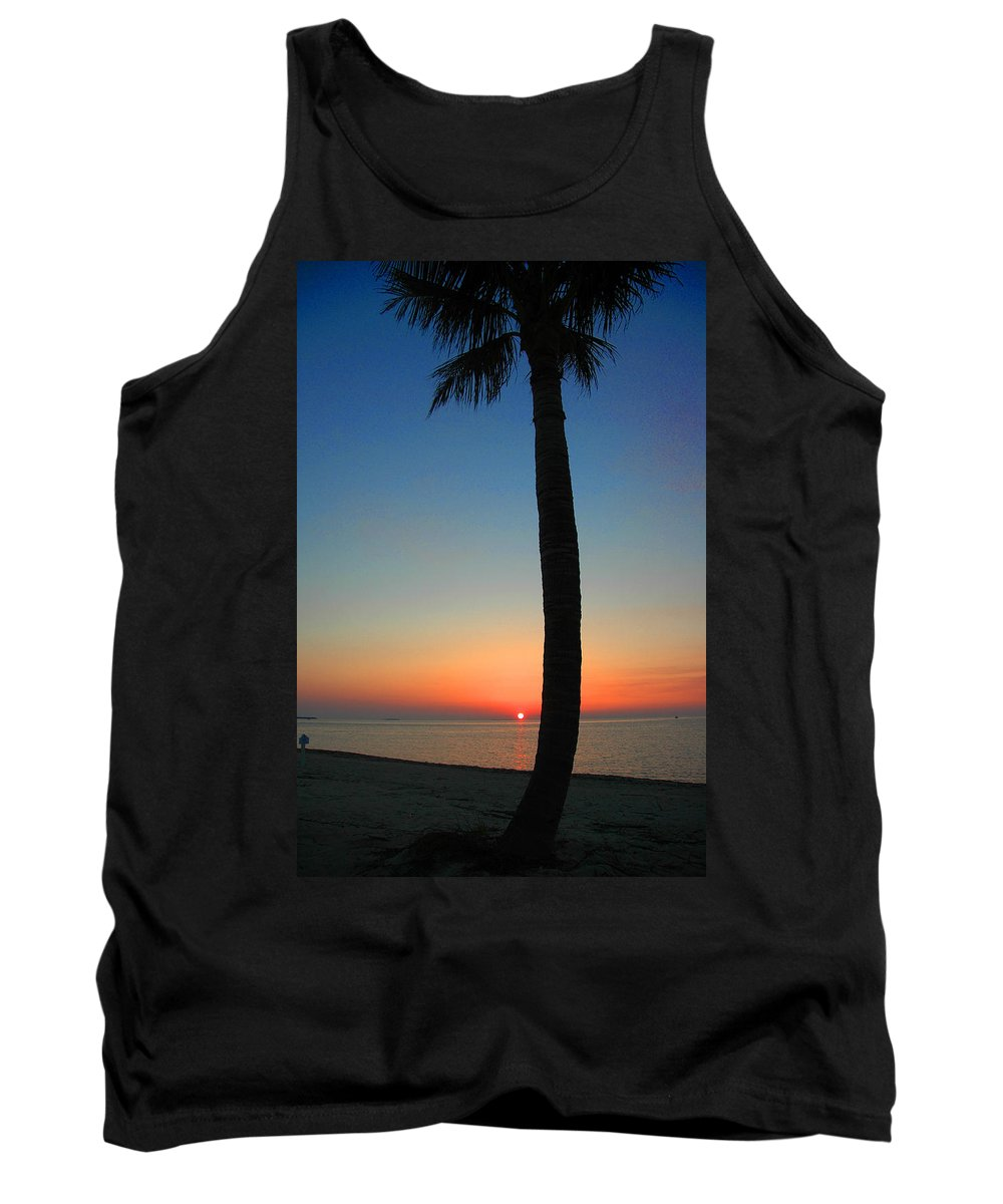 Photography Tank Top featuring the photograph Single Palm And Sunset by Susanne Van Hulst