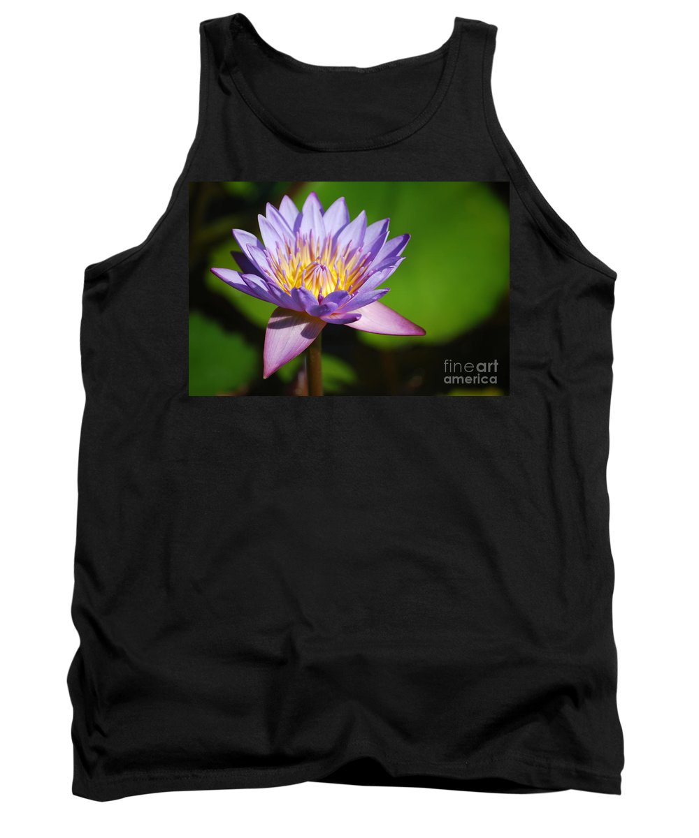 Nymphaea Tank Top featuring the photograph Single Purple Water Lily Number One by Heather Kirk