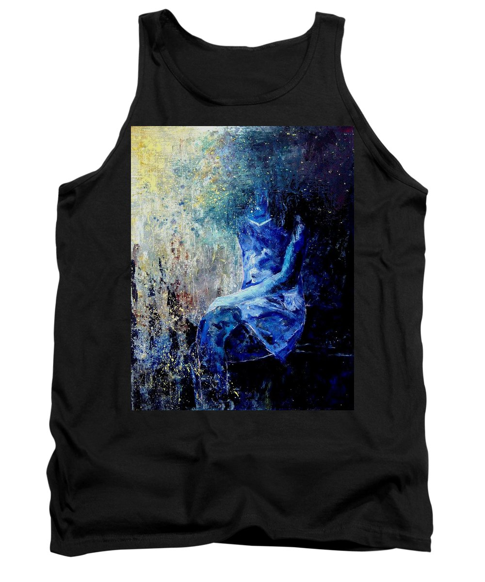 Woman Girl Fashion Tank Top featuring the painting Sitting Young Girl by Pol Ledent