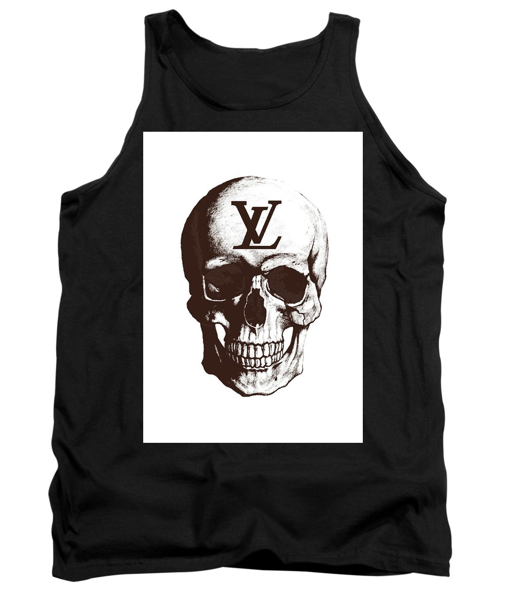 Louis Vuitton Tank Top featuring the mixed media Skull Lv Braun by Del Art