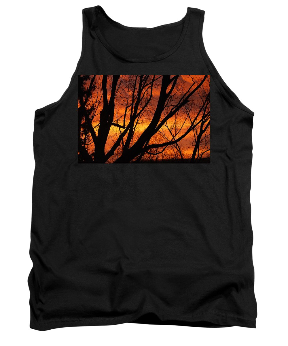 Sky Tank Top featuring the photograph Sky On Fire by Lori Tambakis