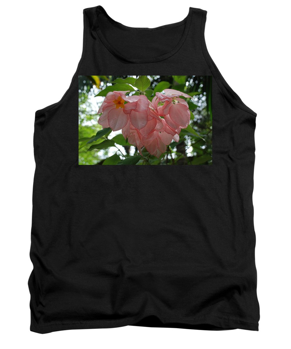 Orange Tank Top featuring the photograph Small Orange Flower Pink Heart Leaves by Rob Hans