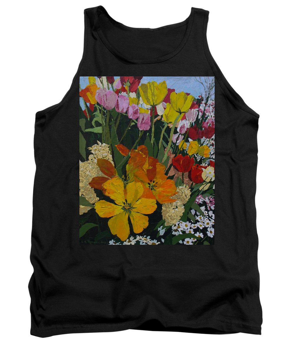 Floral Tank Top featuring the painting Smith's Bulb Show by Leah Tomaino