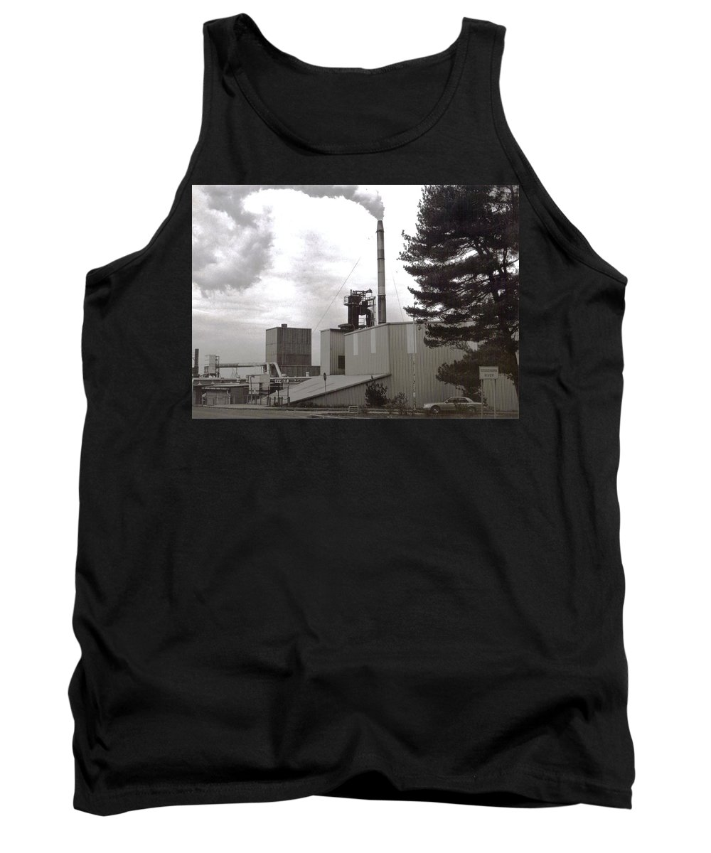 Black And White Photograph Tank Top featuring the photograph Smoke Stack by Thomas Valentine
