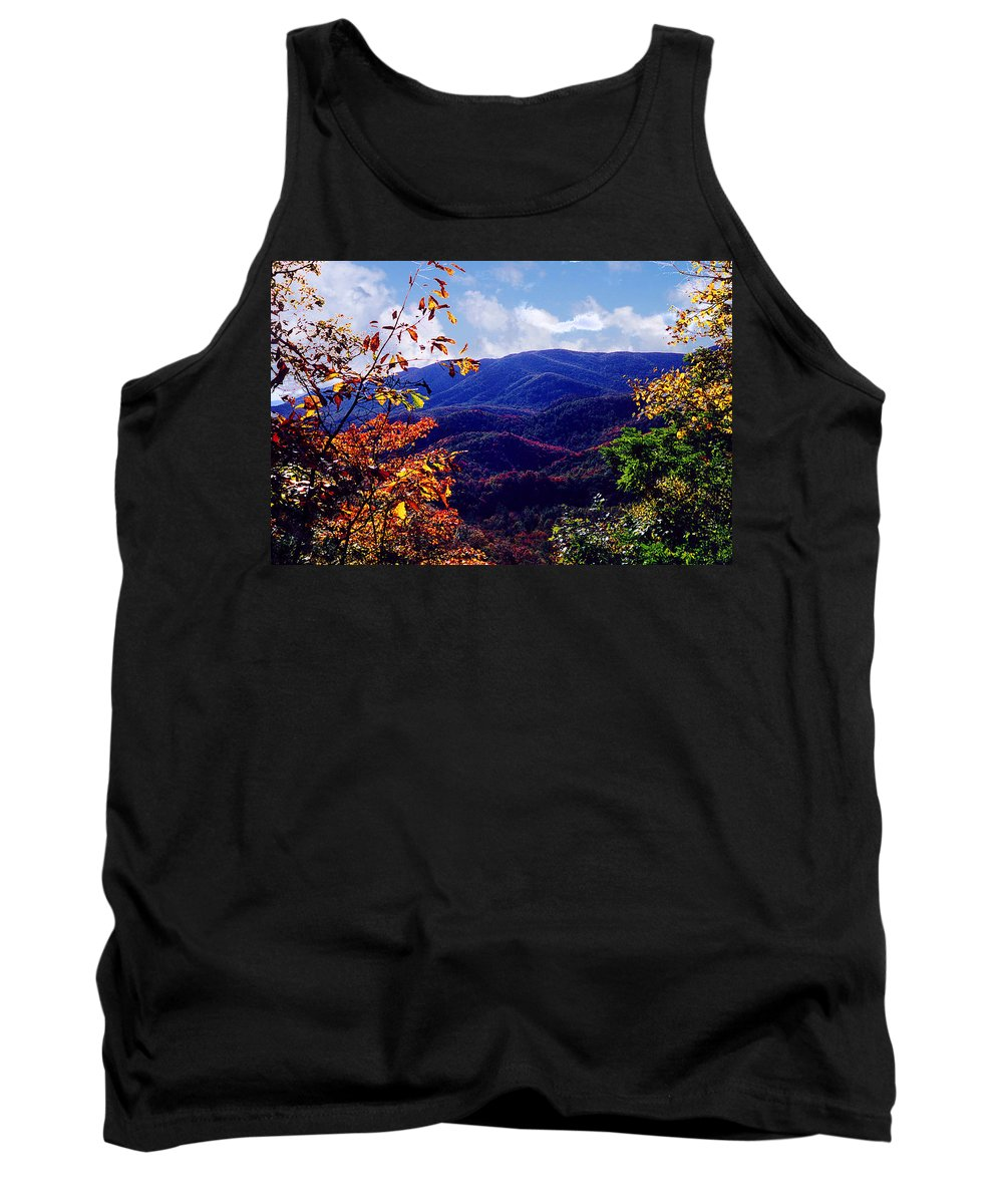 Mountain Tank Top featuring the photograph Smoky Mountain Autumn View by Nancy Mueller