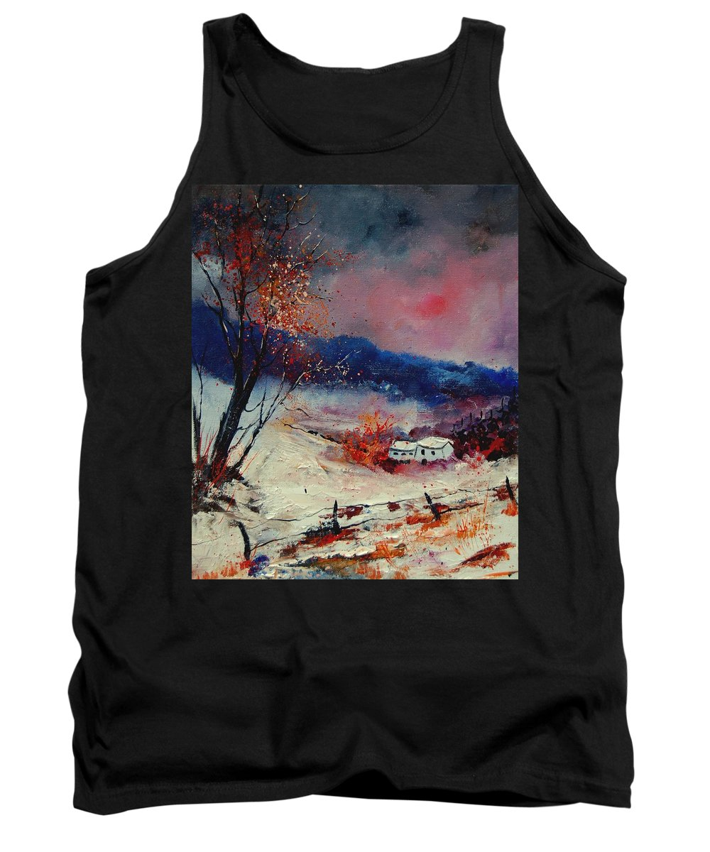 Winter Tank Top featuring the painting Snow 569020 by Pol Ledent