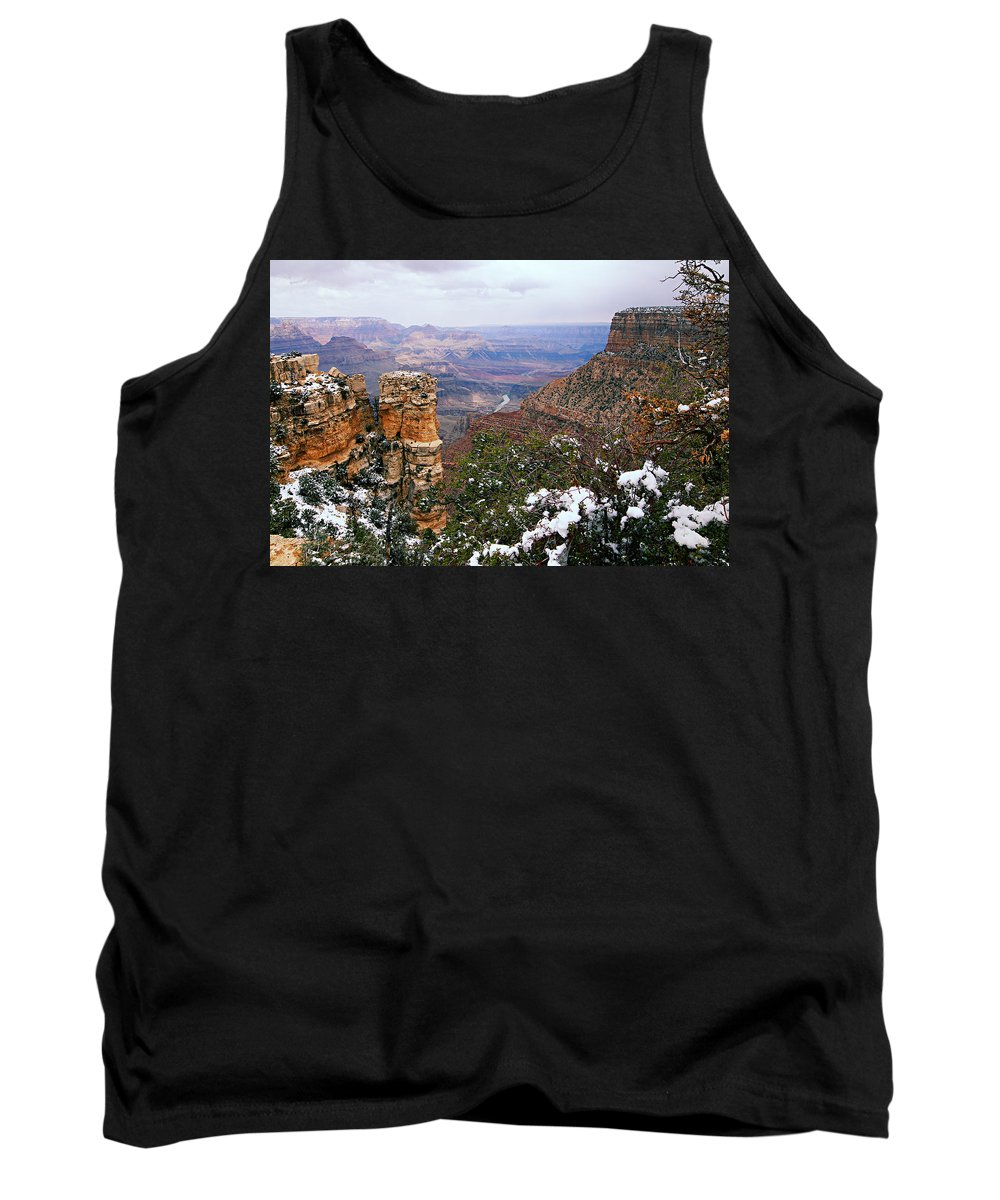 Grand Canyon National Park Tank Top featuring the photograph Snow And Pillar - Grand Canyon by Larry Ricker