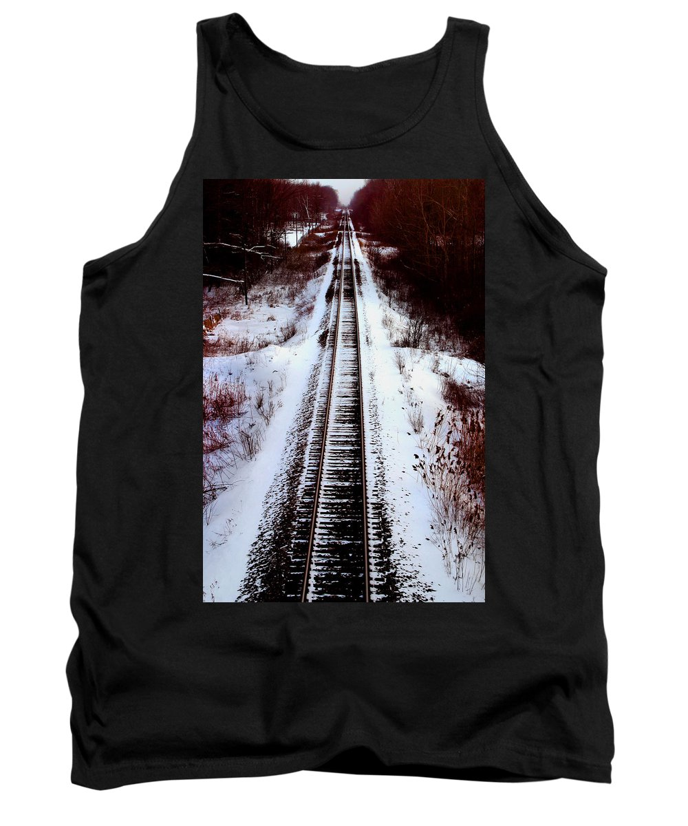 Train Tracks Tank Top featuring the photograph Snowy Train Tracks by Anthony Jones