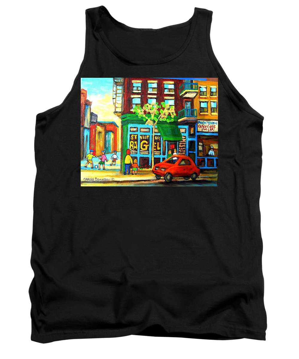 St Viateur Bagel Shop Montreal Street Scenes Tank Top featuring the painting Soccer Game At The Bagel Shop by Carole Spandau