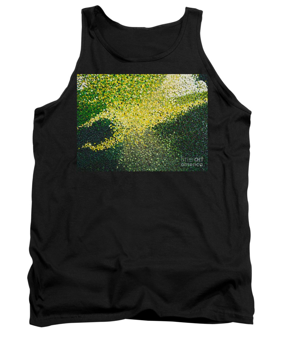 Abstract Tank Top featuring the painting Soft Green Light by Dean Triolo