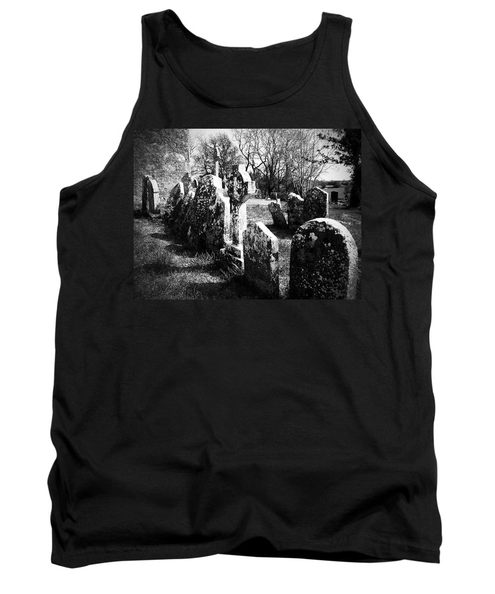 Ireland Tank Top featuring the photograph Solitary Cross At Fuerty Cemetery Roscommon Irenand by Teresa Mucha