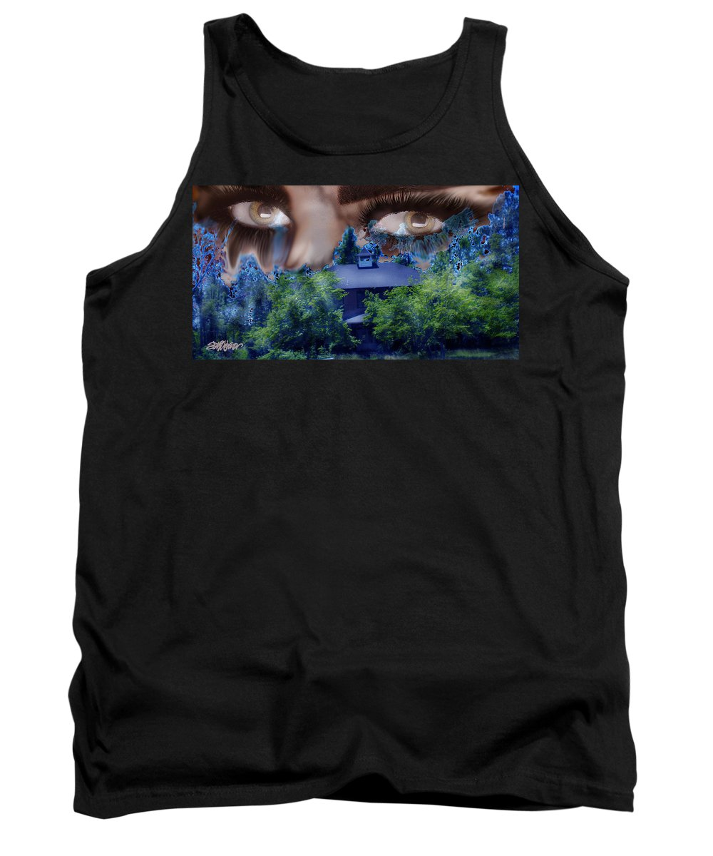 Strange House Tank Top featuring the digital art Something To Watch Over Me by Seth Weaver