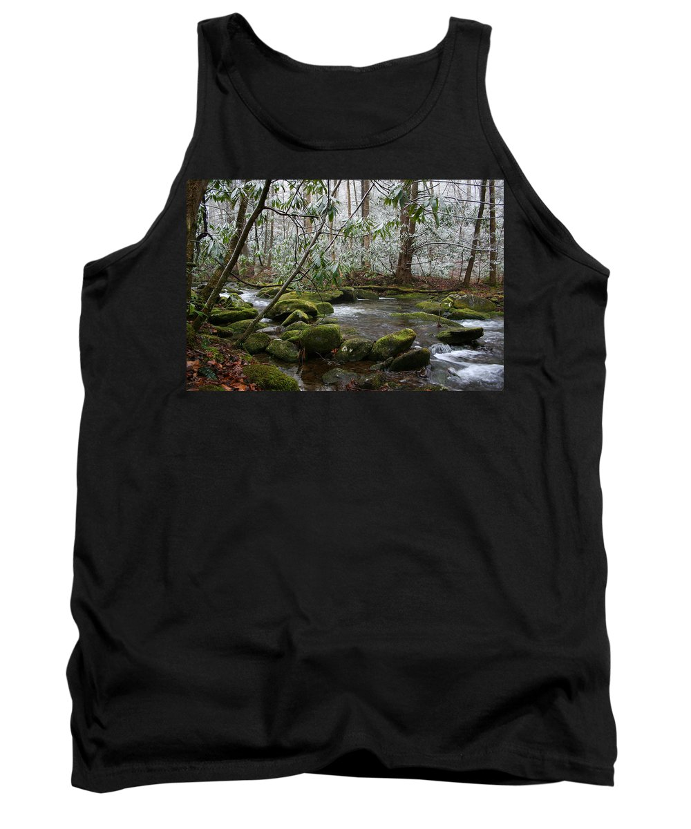 River Stream Creek Water Nature Rock Rocks Tree Trees Winter Snow Peaceful White Green Flowing Flow Tank Top featuring the photograph Soothing by Andrei Shliakhau