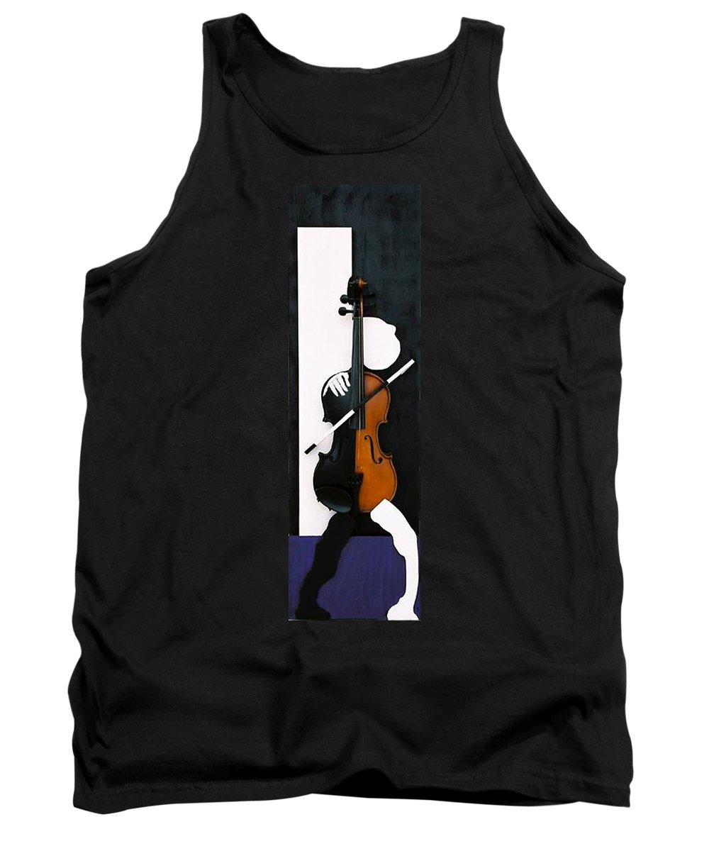 Violin Tank Top featuring the sculpture Soul Of Music by Steve Karol