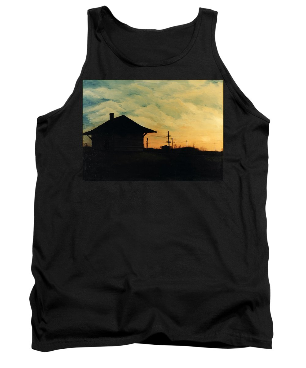 Landscape Tank Top featuring the painting South Holland Train Station by Rachel Christine Nowicki