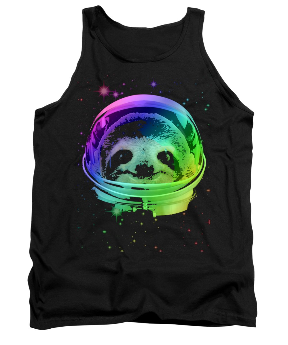 Sloth Tank Top featuring the mixed media Space Sloth by Filip Schpindel