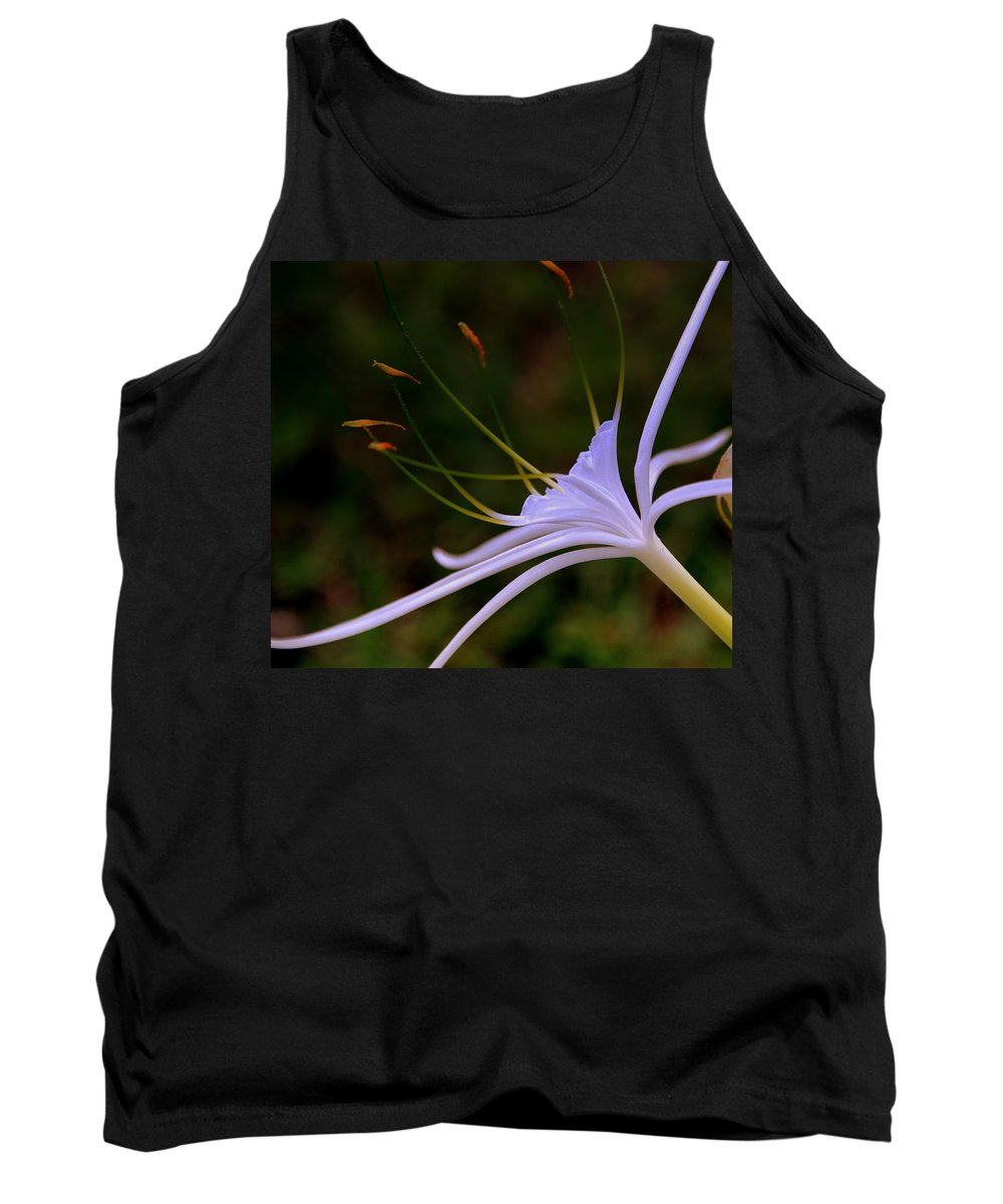 Flower Tank Top featuring the photograph Spider Lilly Blue by Susanne Van Hulst