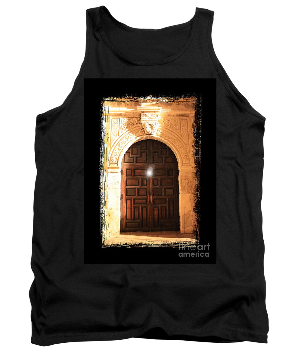 Radiant Light Tank Top featuring the photograph Spirit Of The Alamo With Framing by Carol Groenen