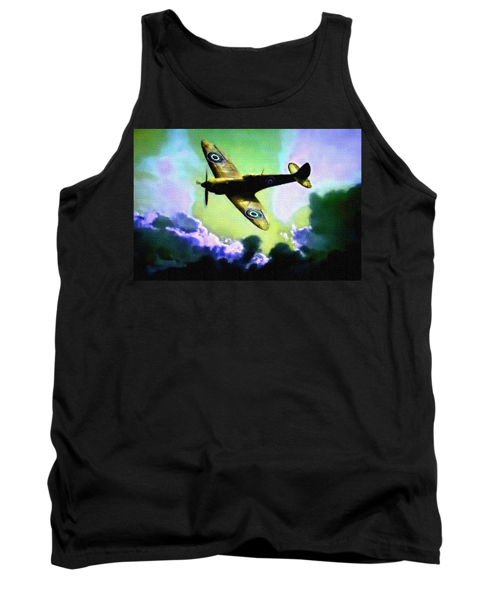 Announcement Tank Top featuring the painting Spitfire In The Clouds H B by Gert J Rheeders