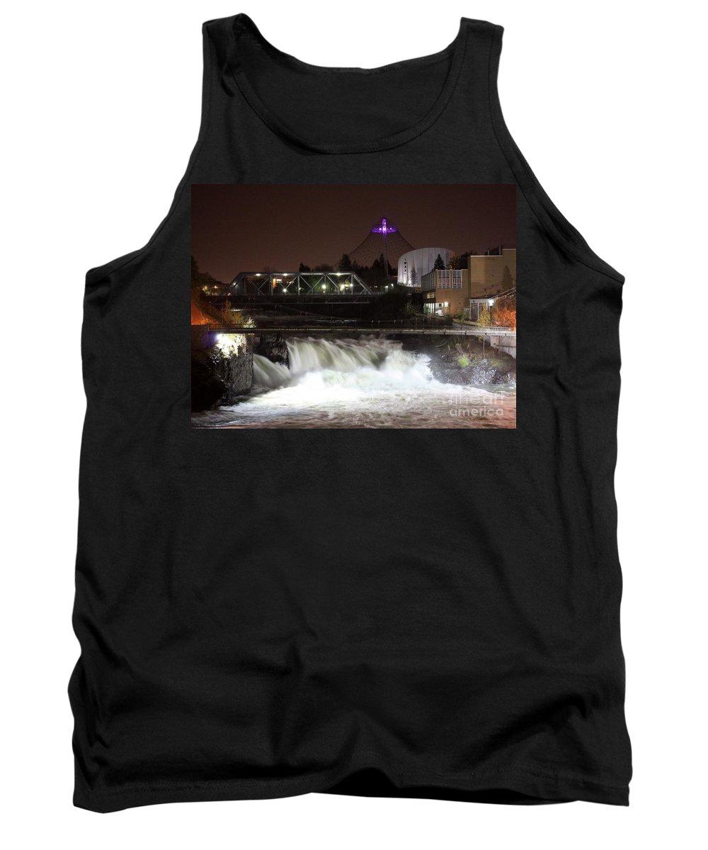 Spokane Tank Top featuring the photograph Spokane Falls Night Scene by Carol Groenen
