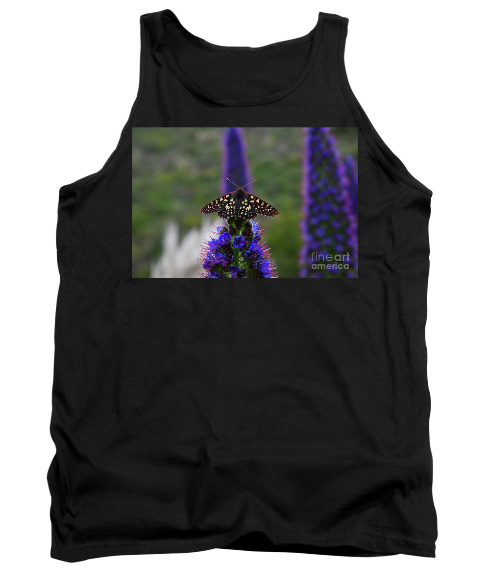 Moth Tank Top featuring the photograph Spotted Moth On Purple Flowers by Bruce Chevillat