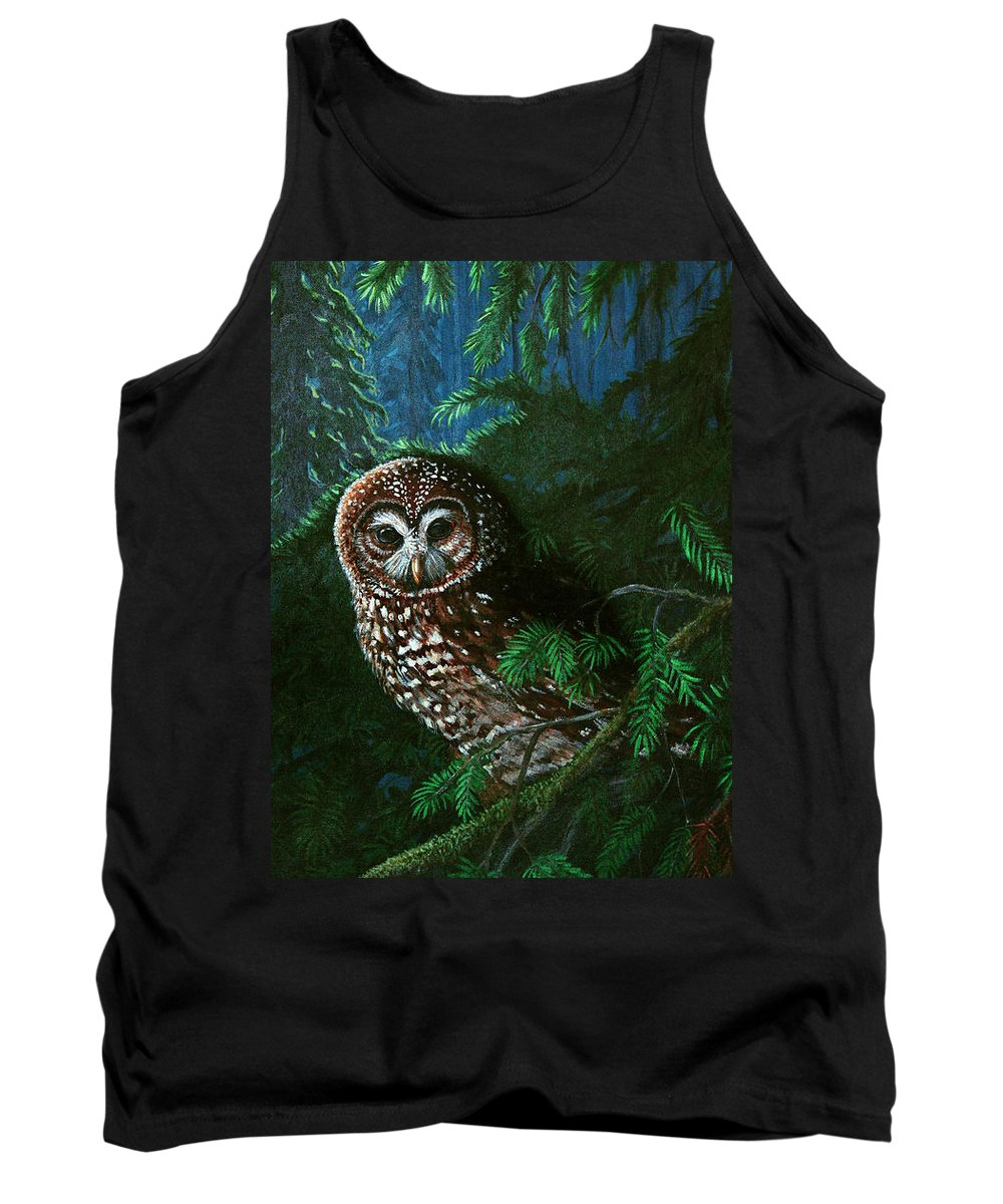Owl Tank Top featuring the painting Spotted Owl In Ancient Forest by Nick Gustafson
