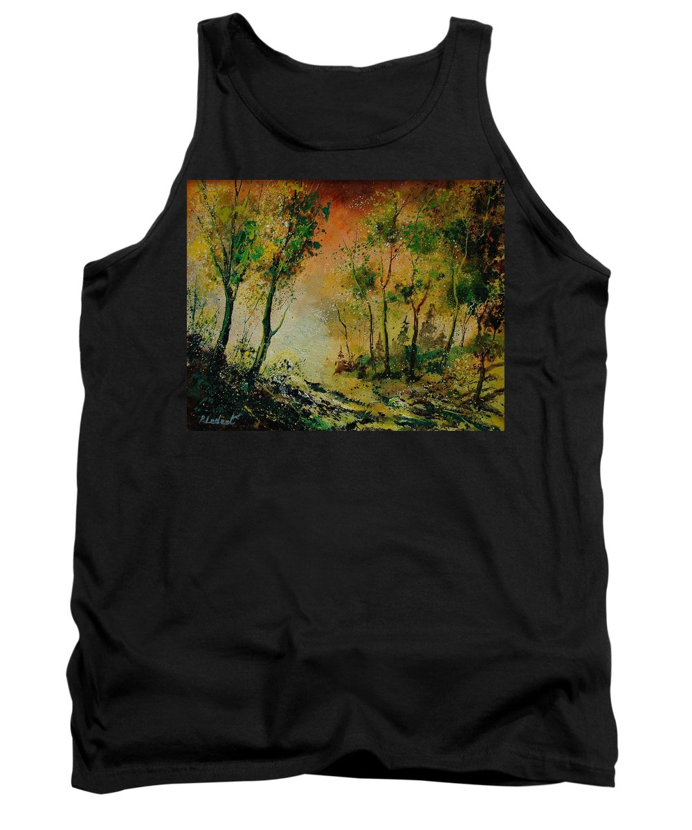 Spring Tank Top featuring the painting Sprin In Wood 45 by Pol Ledent