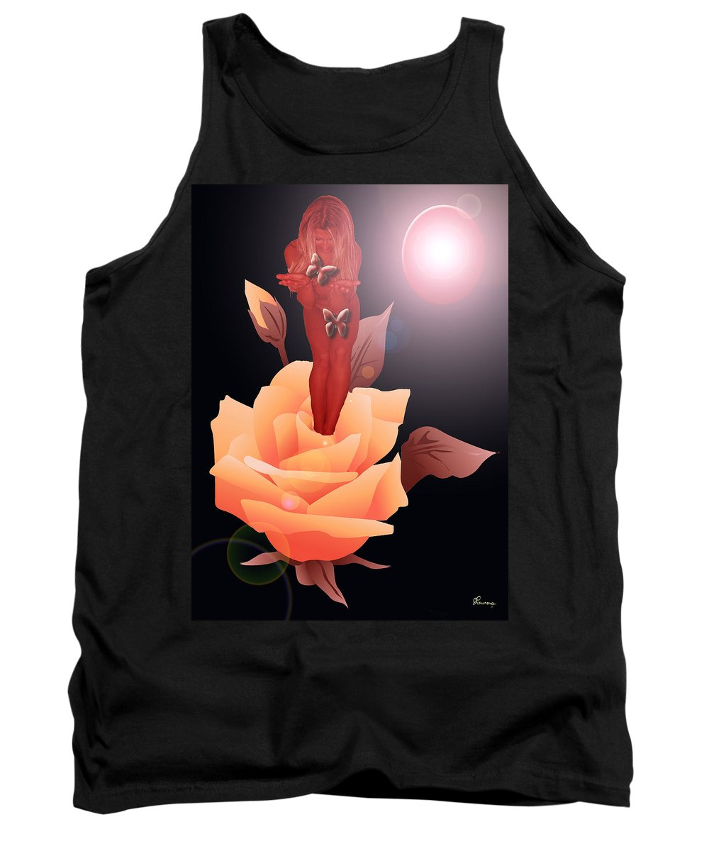 Flower Woman Butterfly Butterflies Rose Planet Leaves Leaf Tank Top featuring the digital art Spring Flower by Andrea Lawrence