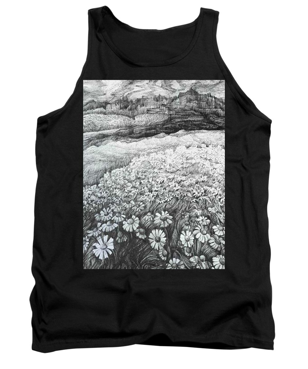 Flower Tank Top featuring the drawing Spring Flowers by Anna Duyunova